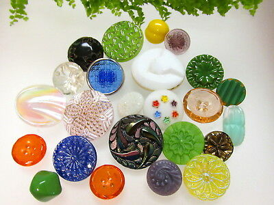 Colorful Lot Of Vintage Glass Buttons V18
