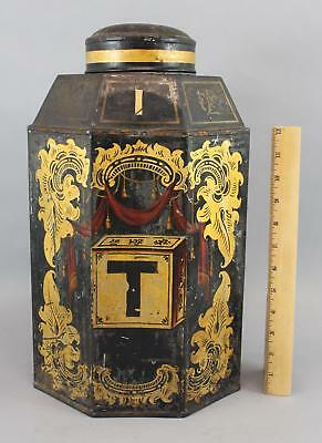 Lrg 19thC Antique Parnall & Son Country Store Gilt Painted Tin Toleware Tea Bin