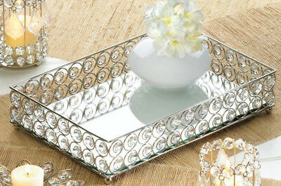 silver prism crystal diamond gem square candle holder plate MIRRORED vanity tray