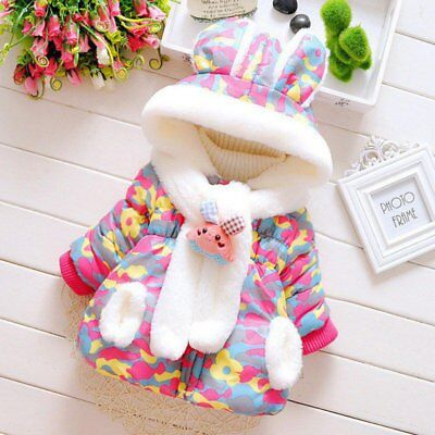 Baby Girls Winter Coat Kid Toddler Cotton Hooded Bunny Rabbit Jacket Outwear UK