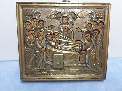 Antique Russian Silver Icon Dormition of the Holy Virgin Death of Mary Hallmrks