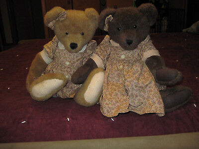 "Boyds Bears lot of two ""twin"" bears. 16 "" plush bears, with matching dresses"
