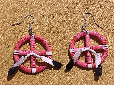 Awesome New Neat Pair Of Lakota Quilled Medicine Wheel Earrings