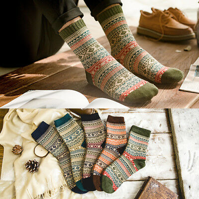 Men Winter Thick Warm stripe Wool Casual Fashion Promotional Cashmere Socks