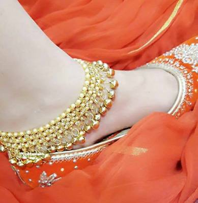 Gold Indian Bell Charm Ankle Bracelet Anklet foot Chain Ghungroo Payal Pajeeb