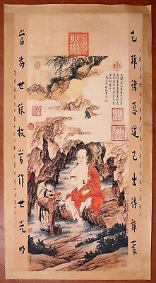 """Vintage Long Old Paper Chinese Hand Painting """"LuoHan"""" Marked JinTingBiao KK458"""