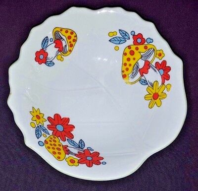 Bright & Bold Colored Mushrooms on Vintage Porcelain Serving Bowl~VERY PRETTY