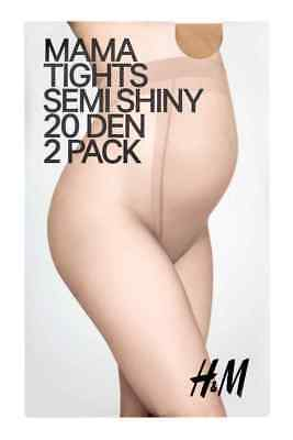 H&M Mama Tights Semi Shiny Maternity Panty Hose 20 Den (2 Pack) Beige XS new