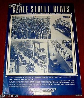 BEALE STREET BLUES 1931 MUSIC SHEET PHOTOS of W.C HANDY SQUARE MEMPHIS DEDICATED