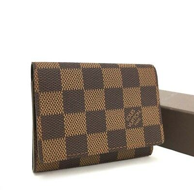 100% Authentic Louis Vuitton Damier Enveloppe Cartes De Visite Card Case /290