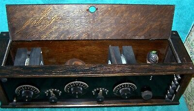 Early 1920's One Tube Radio with Wood Variometers / Nice Quarter Sawn Oak Case