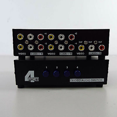4 Port AV Switch RCA Switcher 4 In 1 Out Composite Video L/R Audio Box (H2900)