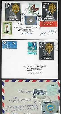 ETHIOPIA 1980s COLLECTION OF 9 COMMERCIAL COVER INCLUDING 3 CARDS & 4 OF THE 60¢