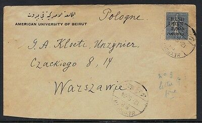 "LEBANON 1924 ""BEYROUTH R.P."" TYING #9 2.50pi ON 50¢ TO WARSAW POLAND ON AMERICAN"