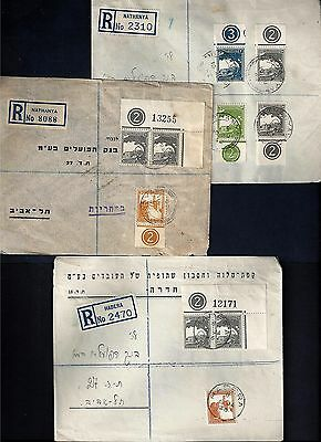 Palestine 1942 Three Registered Domestic Covers Nathanya & Hadera Franked Pictor