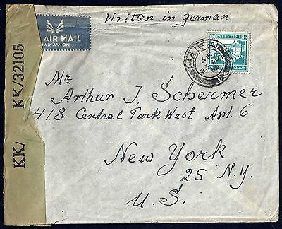 Palestine 1944 War Time Haifa To Ny Censored Label Franked 100 Mils Written In G