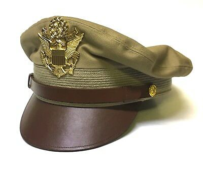 Reproduction US Army Air Force Khaki Cotton Crusher Cap Hat Made in USA 7-1/2