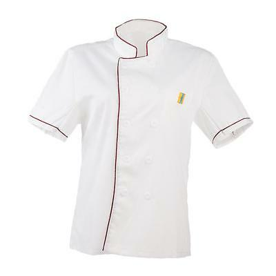 Men Women Chef Uniform Single Breasted M Red Cooking Short Sleeve Coat