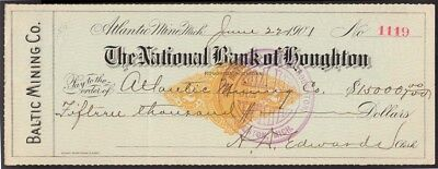 $15,000 check, 1901 Nat. Bank of Houghton, Mich, RN-X5, copper mining