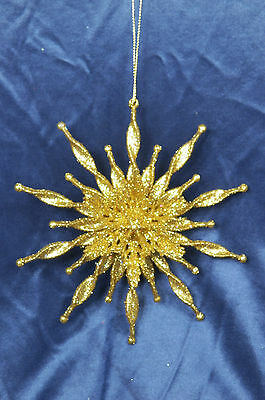 Gold Glittered Snowflake Christmas Tree Ornament new holiday decorations