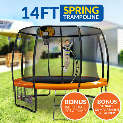 14ft Trampoline Basketball kit Free Ladder Spring Net Safety Pad Cover Round