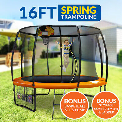 16ft Trampoline Basketball kit Free Ladder Spring Net Safety Pad Cover Round