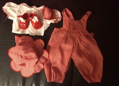 American Girl Bitty Baby Red Gingham Overall Outfit Set Shoes/socks/hat/Blouse