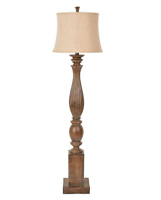 Grain Wood Classic Floor Lamp Accent Lighting in Rustic Vintage Antique Style