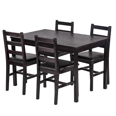 5PCS Dining Table Set Pine Wood Kitchen Dinette Table with 4 Chairs DS-47