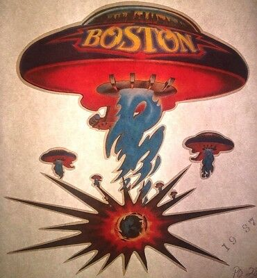 Vintage 70s Boston Huge Spaceship Guitar Iron-On Transfer Rock Icons RARE!