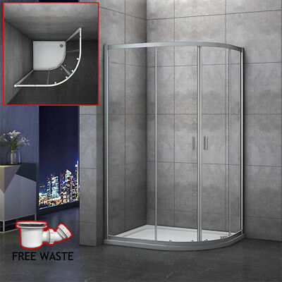 900x760mm Quadrant Shower Enclosure and Stone Tray Corner Cubical Glass RIGHT