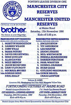 RARE Mint condition single sheet Ryan Giggs aged 16 City Res v United Res