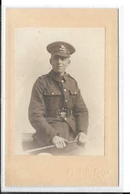 WW1 Photograph Mounted on Card (Postcard Size) East Kent Rgt The Buffs Soldier