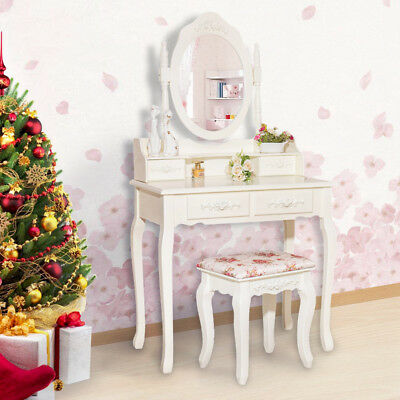 Luxury Dressing Table Makeup Desk 4 Drawers Round Mirror Wooden Stool AU
