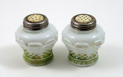 Basketweave Milk Glass Salt and Pepper Shakers EAPG Celluloid Tops