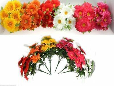 12 x Bunch Artificial Flowers 40cm Gerbera 12 head 6 asst bulk wholesale lot