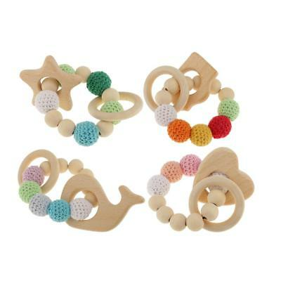 4Pcs Camera Heart Natural Wooden Baby Teether Bracelet Crochet Bead Teething