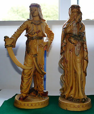 Two Composition Figurines-Arabian Style Man & Lady