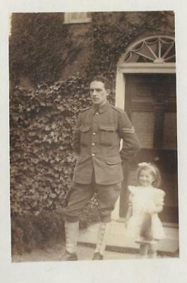 WW1 Photographic Postcard Military/Social History Soldier with his Daughter