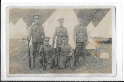 WW1 photographic Postcard Royal Sussex Regiment 5 Soldiers in Uniform with Rifle