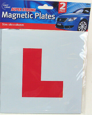 """Pack Of 2 Magnetic Car  """" L """"  Red Learning Plates - New Drivers / Driving"""