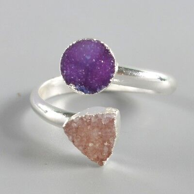 Size 8 Hot Pink Agate Druzy Geode Adjustable Ring Silver Plated B049945