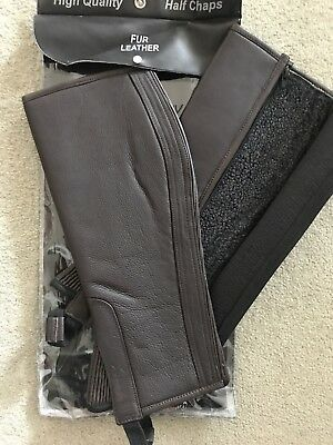 Adults Brown Half Chaps - lined Size Small NEW