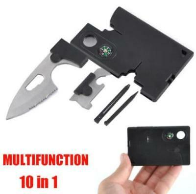 10 in 1 Multifunction Outdoor Survival Pocket Credit Card Knife Camping Tools @
