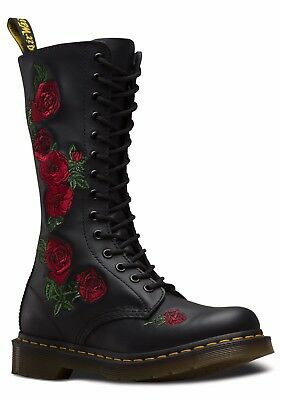 Ladies Dr Martens Vonda Black Leather Rose Embroidered Boot - UK 5 - 6