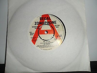"Joe Cocker.the Letter.demo.regal Zonophone.7"" Vinyl Single.45Rpm"