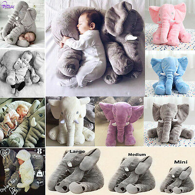 Baby Small Long Nose Elephant Plush Pillow Kid Soft Lumbar Stuffed Doll Xmas Toy