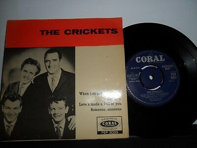 "The Crickets.self Titled Coral 4 Track Ep.7"" Vinyl.45Rpm"