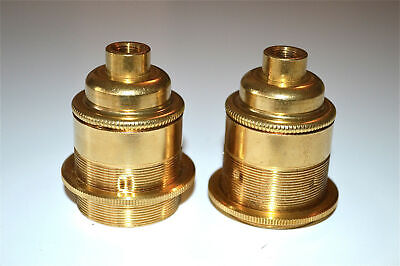 Pair UK made solid brass E27 Edison screw in bulb holder shade ring 10mm entry