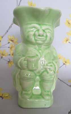 "Attractive vintage BURLINGTON WARE pottery 6"" large lime green Toby Jug No8 Mint"
